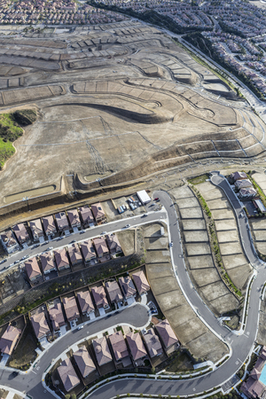 san fernando valley: Aerial view of new suburb construction in the Porter Ranch San Fernando Valley area of Los Angeles California.