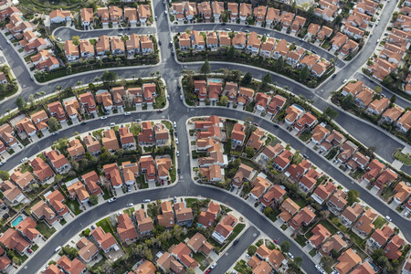 Aerial view of modern suburban neighborhood in Los Angeles California.