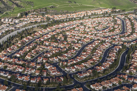 porter house: Aerial view of modern suburban housing in the Porter Ranch community of Los Angeles, California.