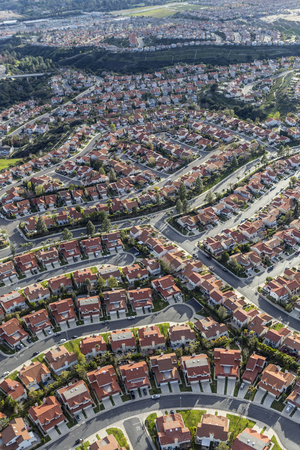 porter house: Aerial view of suburban homes in the Porter Ranch neighborhood of Los Angeles.