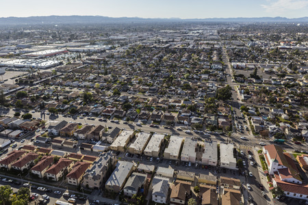 suburban neighborhood: Aerial view of hazy sprawling San Fernando Valley communities in Los Angeles, California.