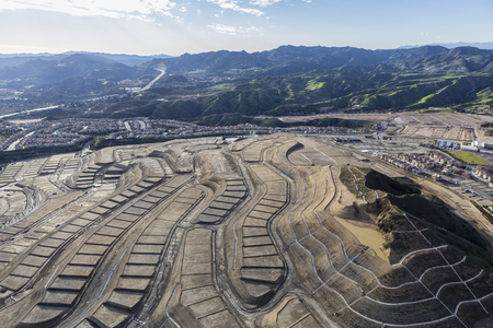 Aerial view of new neighborhood construction on the side Oat Mountain in the Porter Ranch community of Los Angeles, California.   Stock Photo