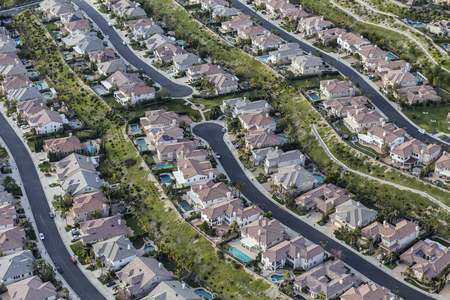Aerial view of clean suburban streets in the Stevenson Ranch area of Los Angeles County, California.