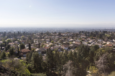 porter house: View of smog hanging over homes in the Los Angeles suburb of Porter Ranch in the San Fernando Valley.