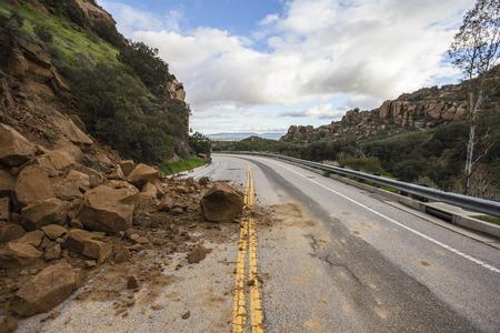 Storm related landslide blocking Santa Susana Pass Road in Los Angeles, California.   스톡 콘텐츠