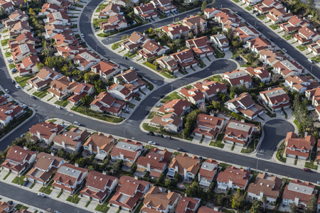 orange county: Aerial view of suburban homes in the Porter Ranch community of Los Angeles California.