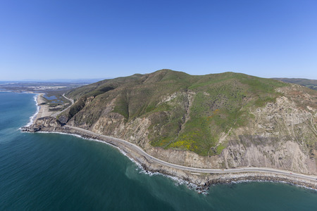 Aerial view of Point Mugu and Pacific Coast Highway in Ventura County, California.   Stock Photo