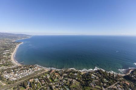 paradise bay: Aerial view of Santa Monica Bay from the Paradise Cove area of Malibu, California.
