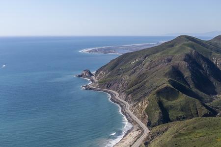 california coast: Aerial view of Pacific Coast Highway at Point Mugu between Malibu and Oxnard California. Stock Photo