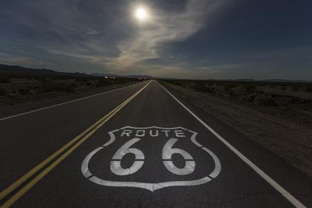 Full moon over Route 66 in the California Mojave desert.