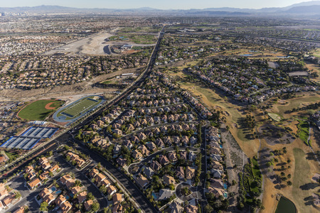 suburban neighborhood: Aerial view of neighborhoods along Rampart Blvd in the Summerlin community of Las Vegas, Nevada.
