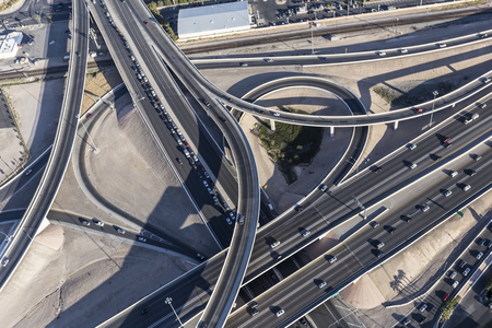 95: Aerial view of route 15 and 95 freeway interchange ramps in downtown Las Vegas, Nevada.