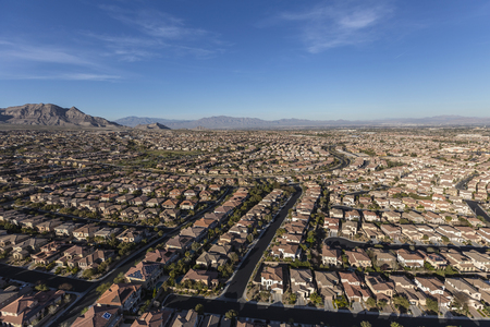 Aerial view of the suburban Summerlin neighborhood in Las Vegas, Nevada.