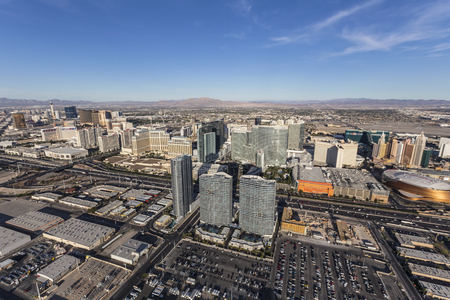 Las Vegas, Nevada, USA - March 13, 2017:  Aerial view of Las Vegas towers and interstate 15 in Southern Nevada. Editorial