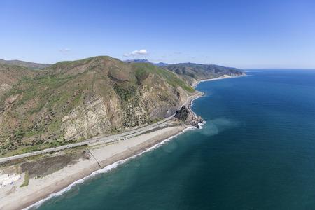 Aerial view of Pacific Coast Highway at Mugu Rock north of Malibu California. Stock Photo