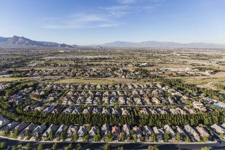 Aerial view of suburban residential neighborhood in northwest Las Vegas, Nevada.