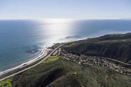 Aerial view of Pacific Coast Highway and Leo Carrillo State Beach near Malibu California.