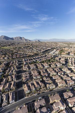 Aerial view of neighborhoods in the Summerlin community in northwest Las Vegas, Nevada.