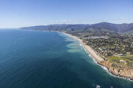 zuma: Aerial view of Point Dume, Westward and Zuma Beaches in Malibu, California. Stock Photo