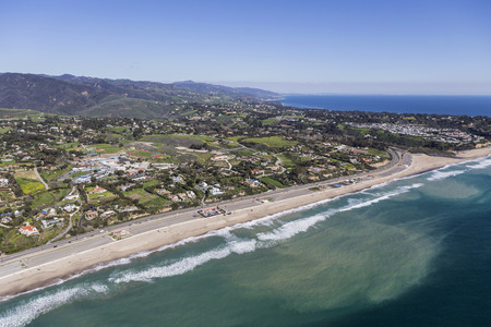 zuma: Aerial view of Zuma Beach and the Pacific Coast in scenic Malibu, California.