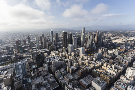 Aerial view of downtown Los Angeles with afternoon clouds in Southern California. Stock Photo