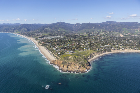 zuma: Aerial view of Point Dume State Park and nearby beaches in Malibu, California.