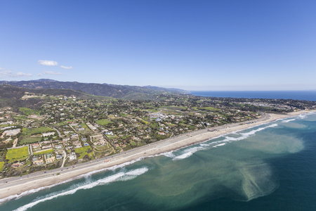 zuma: Aerial view of Zuma beach in Malibu, California.