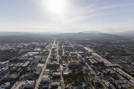 downtown district: Aerial view of Pasadena downtown business district in Southern California. Stock Photo