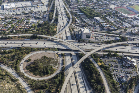 suburban neighborhood: Aerial view of the Glendale 2 and Ventura 134 freeway interchange in the Eagle Rock neighborhood of Los Angeles, California.