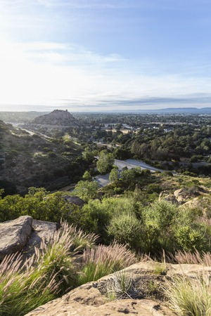 stoney point: Morning view of Stoney Point Park and the San Fernando Valley in Los Angeles, California. Stock Photo