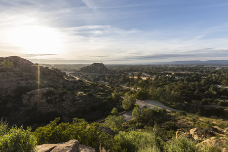 stoney point: Morning view of Santa Susana Pass, Stoney Point Park and the San Fernando Valley in Los Angeles, California.
