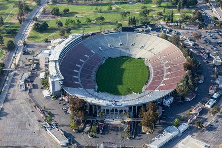 pasadena: Pasadena, California, USA - April 12, 2017:  Aerial view of the historic Rose Bowl Stadium near Los Angeles. Editorial