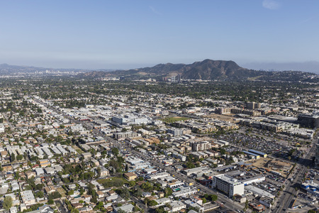 north hollywood: Los Angeles, California, USA - April 12, 2017:  Aerial view of North Hollywood and Griffith Park in the San Fernando Valley.