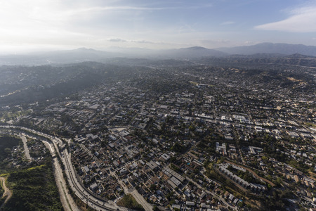 suburban neighborhood: Aerial view of the Highland Park neighborhood in northeast Los Angeles California.