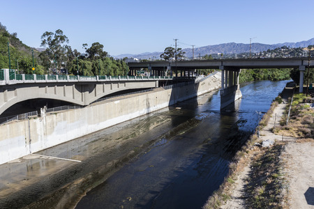 Los Angeles River at the Golden State 5 Freeway in Southern California.