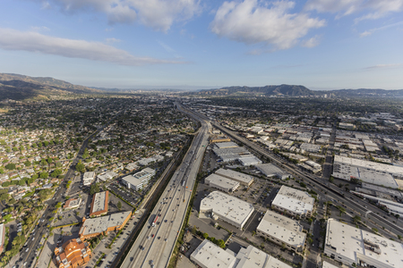 Aerial view the Golden State 5 Freeway in Burbank near Los Angeles, California.