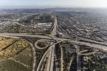 Aerial of the Glendale 2 and Ventura 134 freeway interchange in the Eagle Rock area of Los Angeles, California.