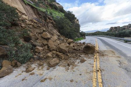 Landslide rocks blocking Santa Susana Pass Road in Los Angeles, California.
