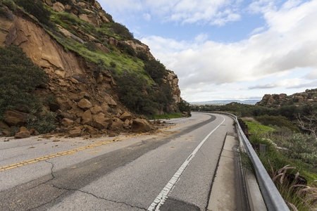 Landslide road closure on Santa Susana Pass Road in Los Angeles, California. Stock Photo