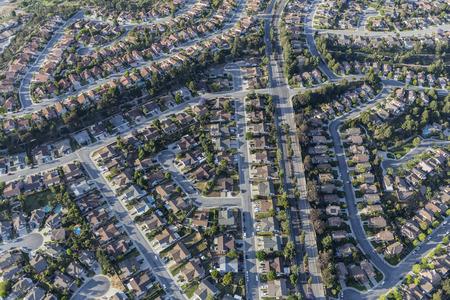 cul de sac: Aerial view of Camarillo suburban streets in Ventura County California. Stock Photo