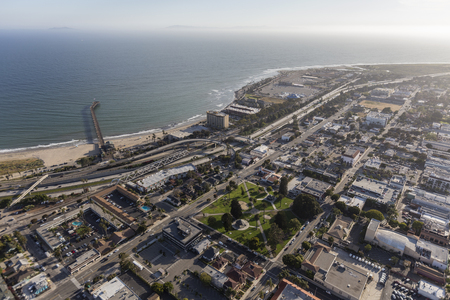 Aerial view of downtown Ventura in Southern California.