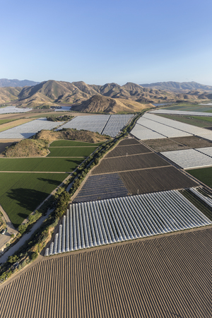 Farm fields and Santa Monica Mountains Parks aerial near Camarillo in Ventura County, California.