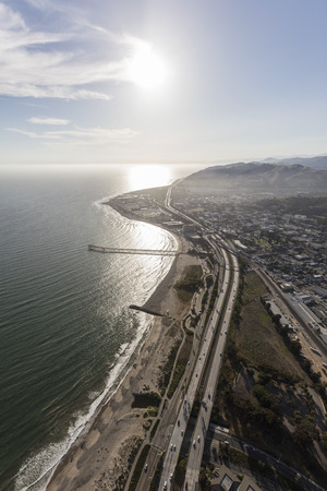 Aerial view of the downtown Ventura beaches and freeway in Southern California.