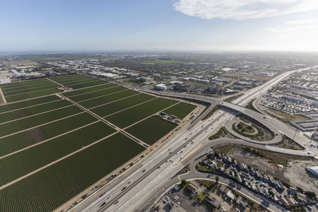 suburban neighborhood: Aerial view of the Ventura 101 Freeway near Rice Ave in Oxnard, California.
