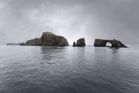Anacapa island with storm sky in Channel Islands National Park in Southern California.