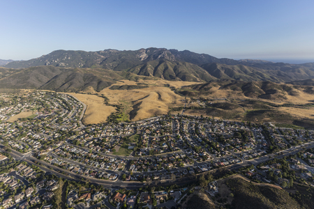 suburban neighborhood: Aerial view of Mt Boney, Santa Monica Mountains National Recreation Area and Newbury Park neighborhoods in Ventura County California.