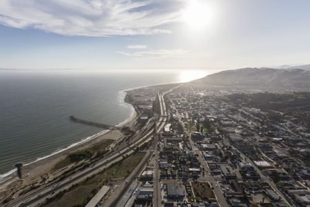 Aerial view of downtown Ventura and the Pacific coast in Southern California.