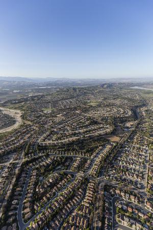 suburban neighborhood: Aerial view of Camarillo homes and streets in Ventura County, California.