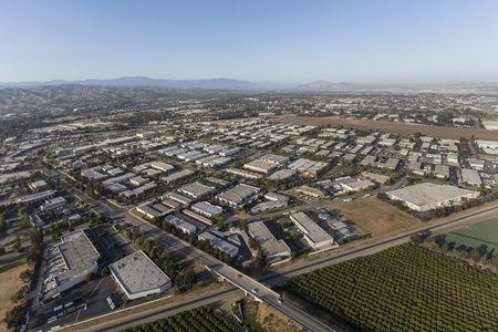 Aerial view of Camarillo industrial park and agricultural fields in Ventura County, California. Stockfoto
