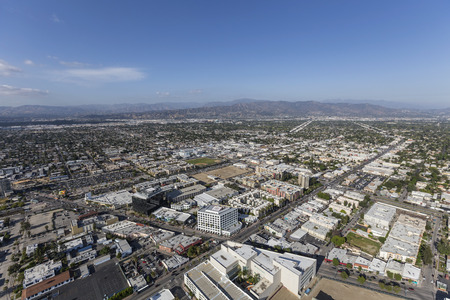 bl: Aerial view of North Hollywood in the San Fernando Valley area of Los Angeles, California.